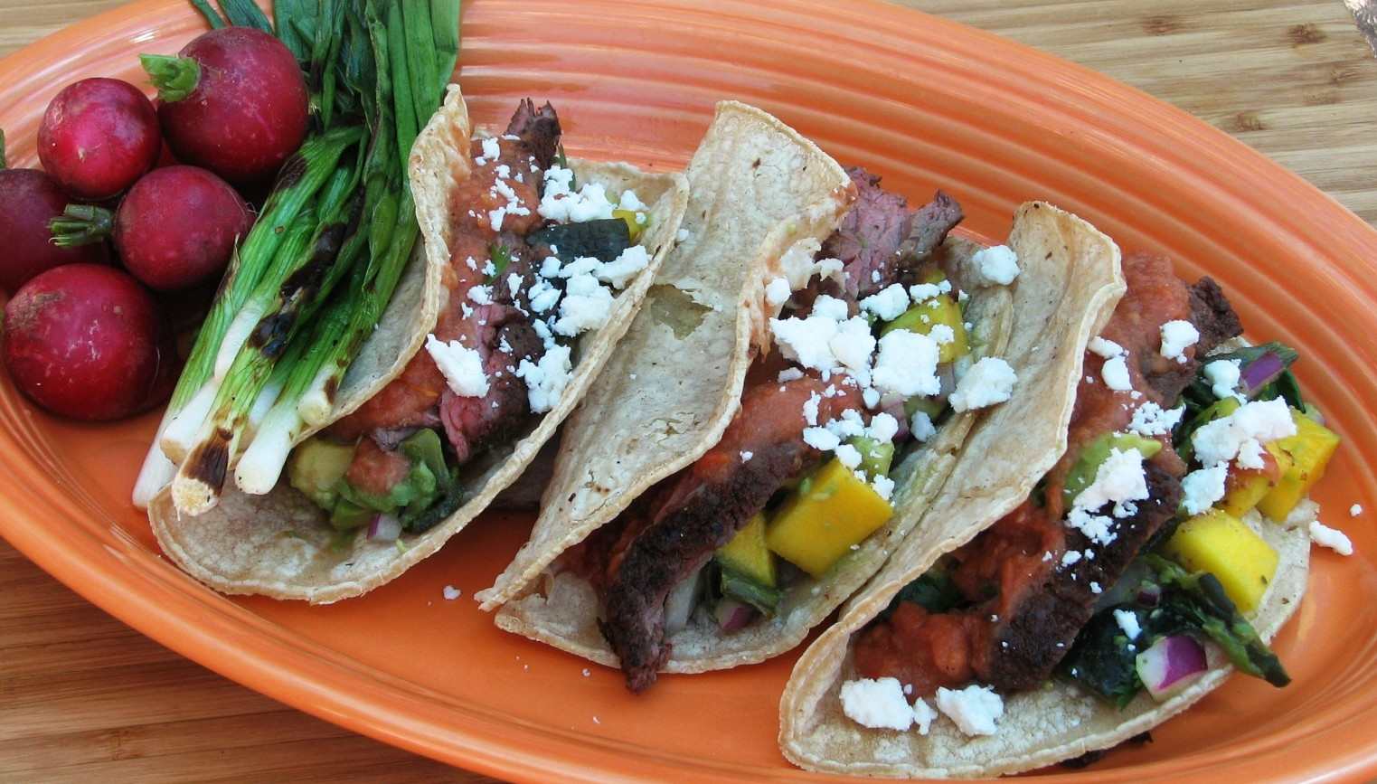 Steak Tacos With Roasted Tomato Green Chile Salsa
